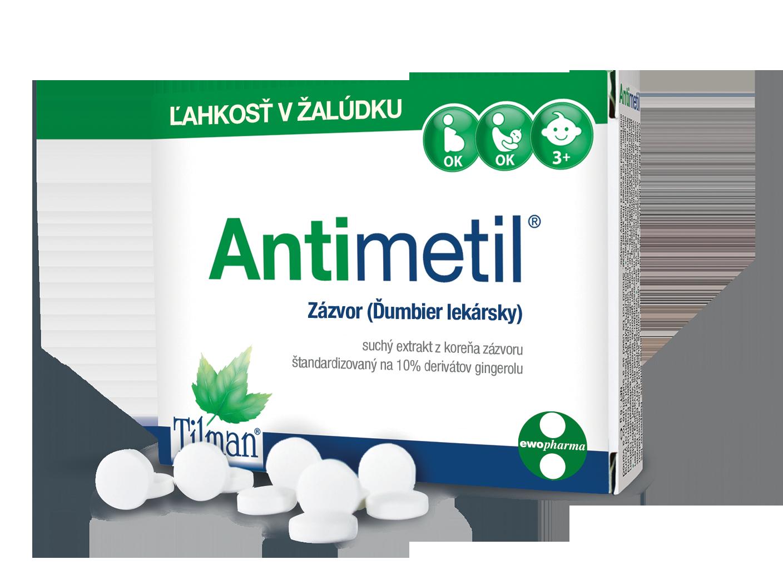 krabička produktu ANTIMETIL na ľahký žalúdok, obsahuje prírodný extrakt zo zázvoru, slovenský text